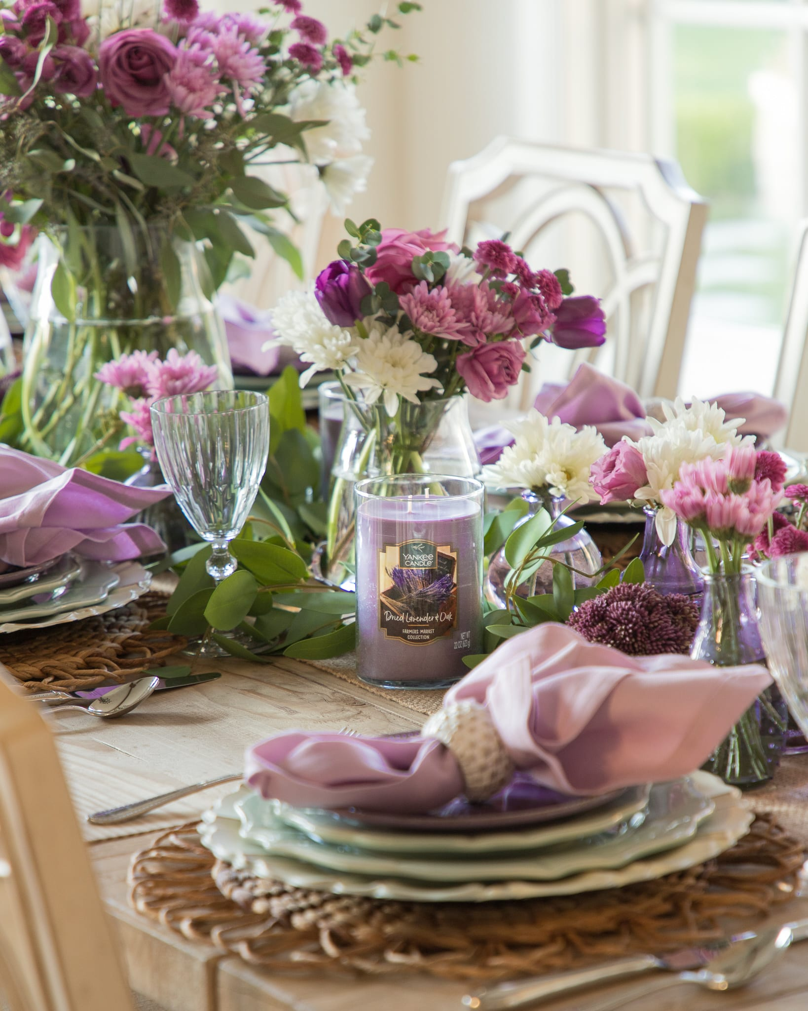 lavender and dried oak yankee candles tablescapes