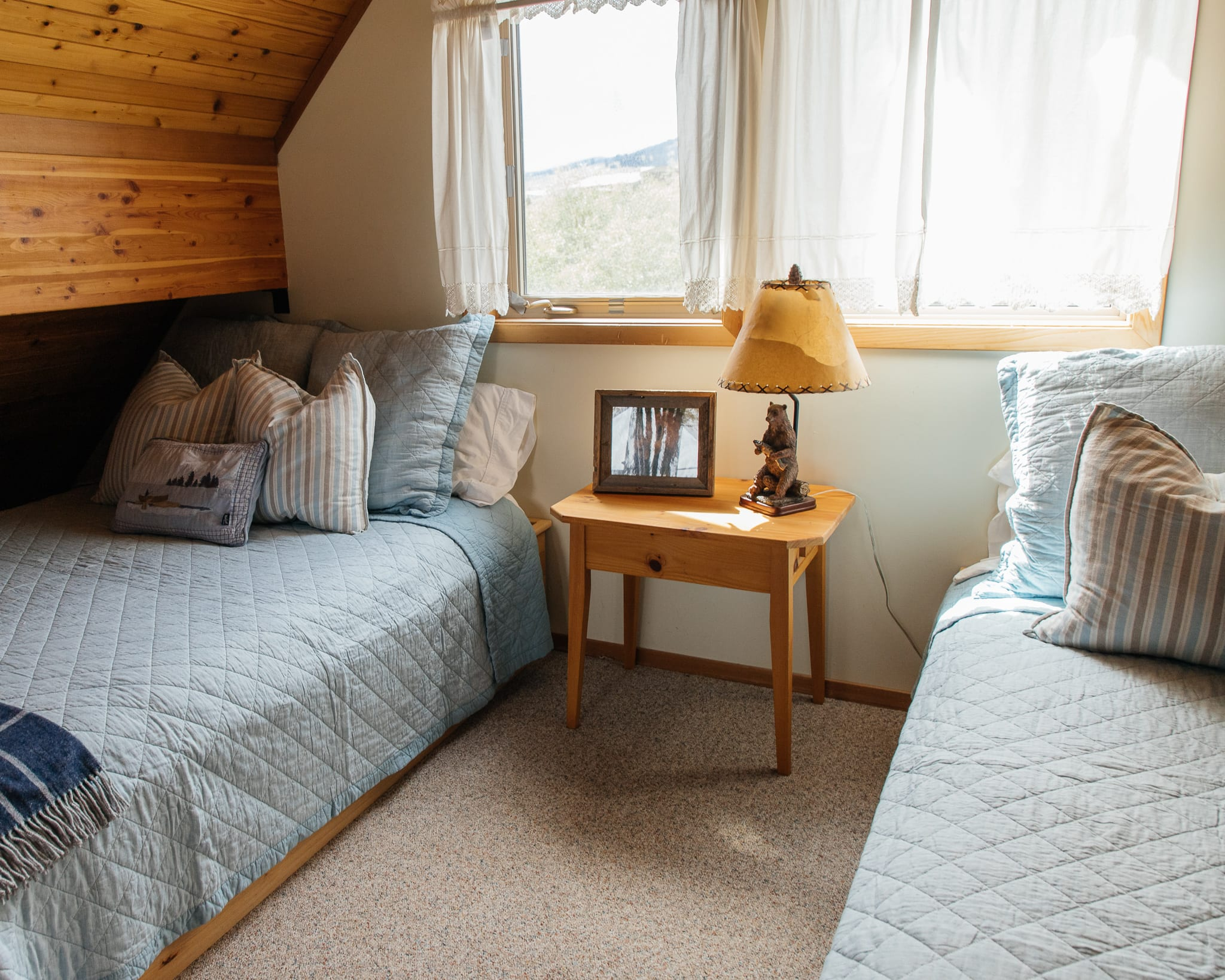 The loft of the cabin with updated bedding montana cabin rental