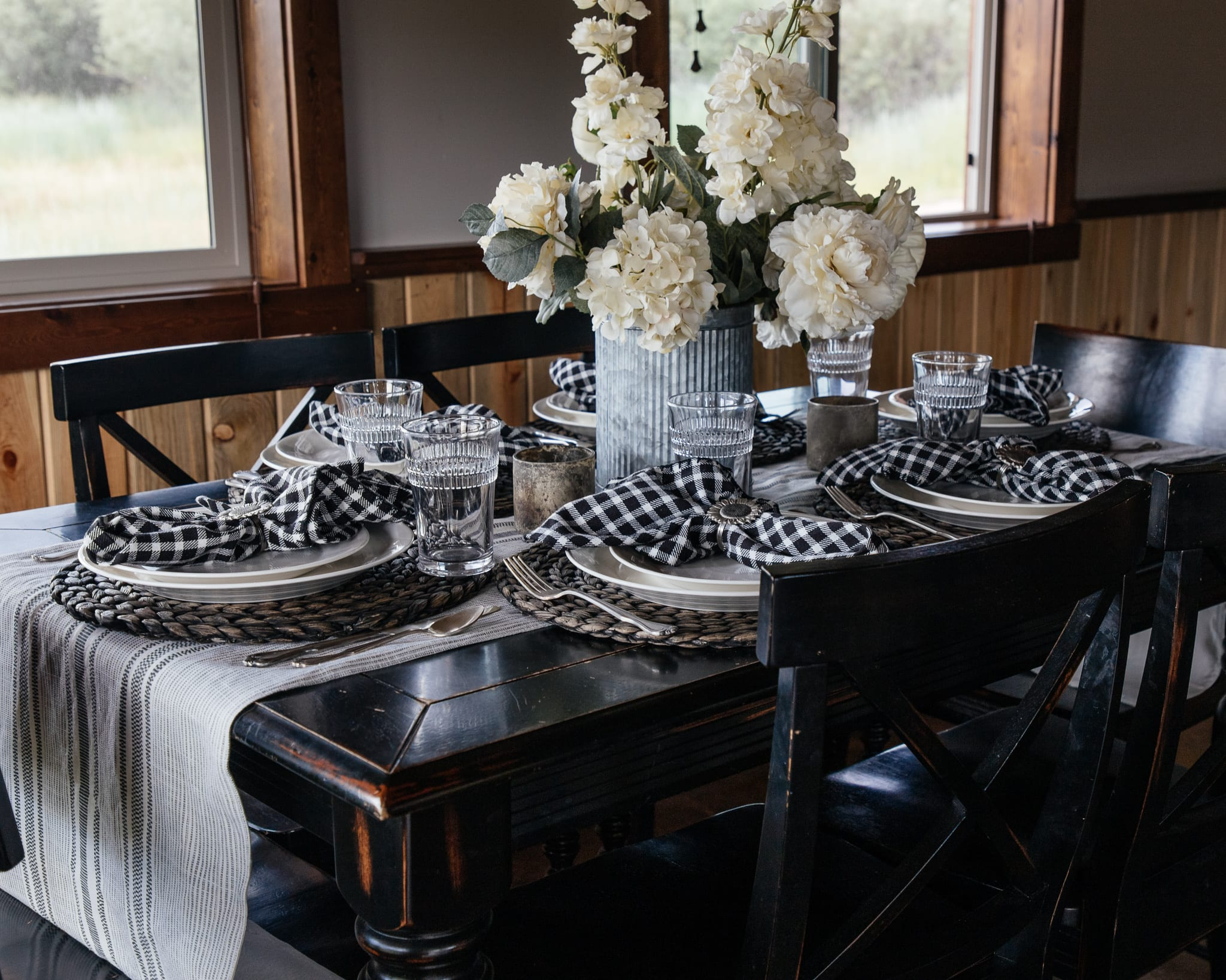 black and off white cabin tablescape montana