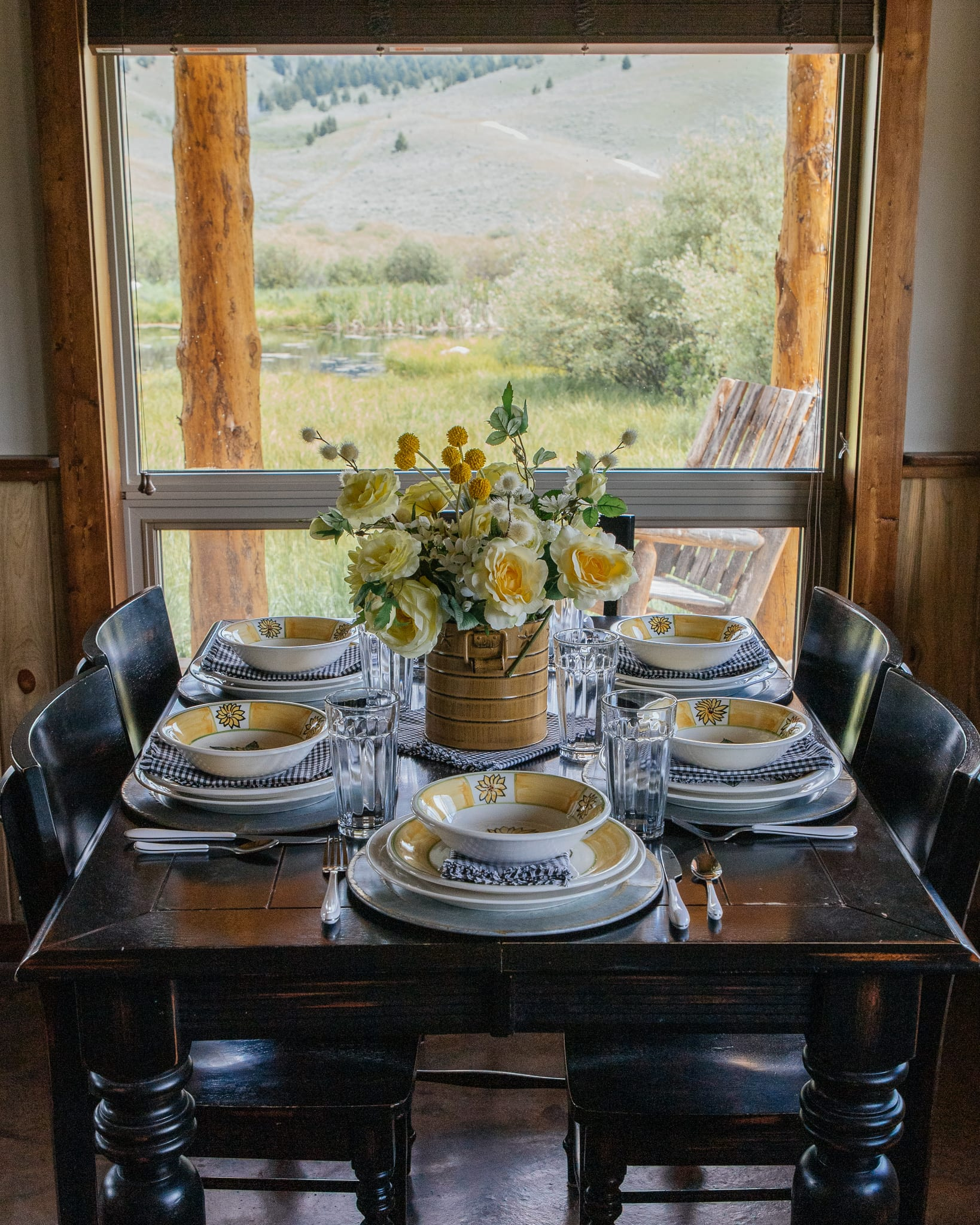 Montana cabin sunflower tablescape