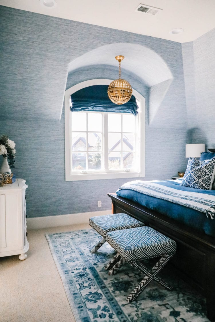 blue decor guest bedroom
