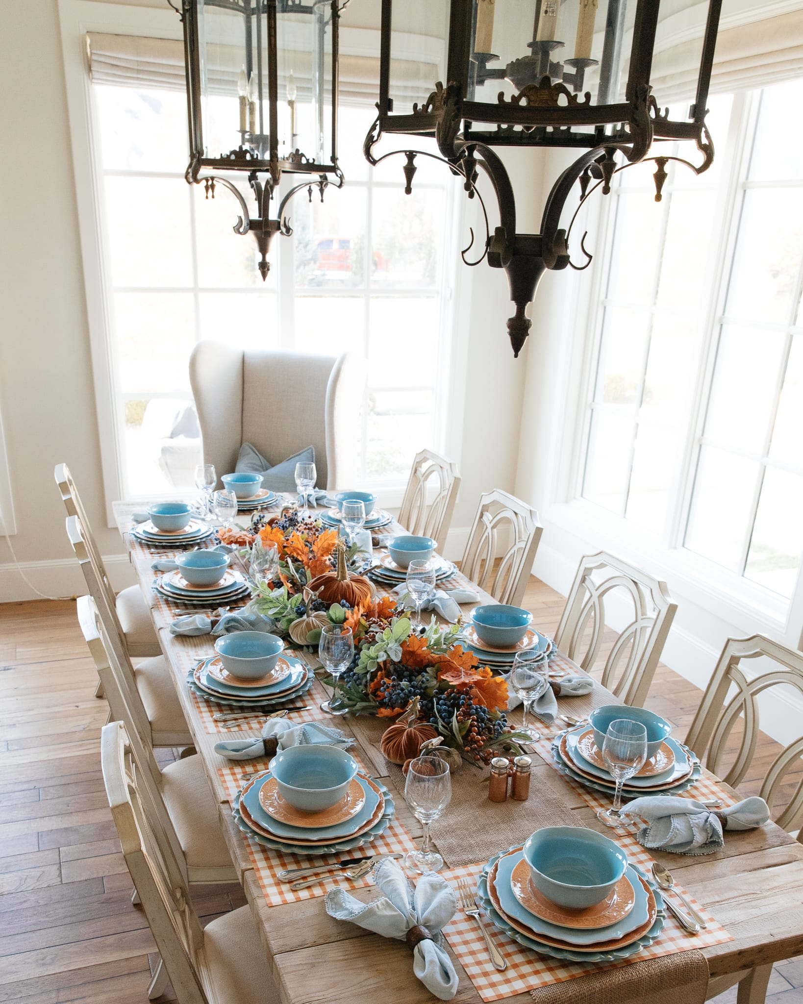 blue and orange pumpkin table setting