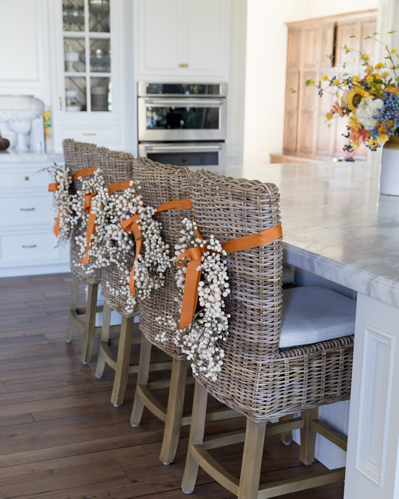 fall home decor berry wreaths on barstools