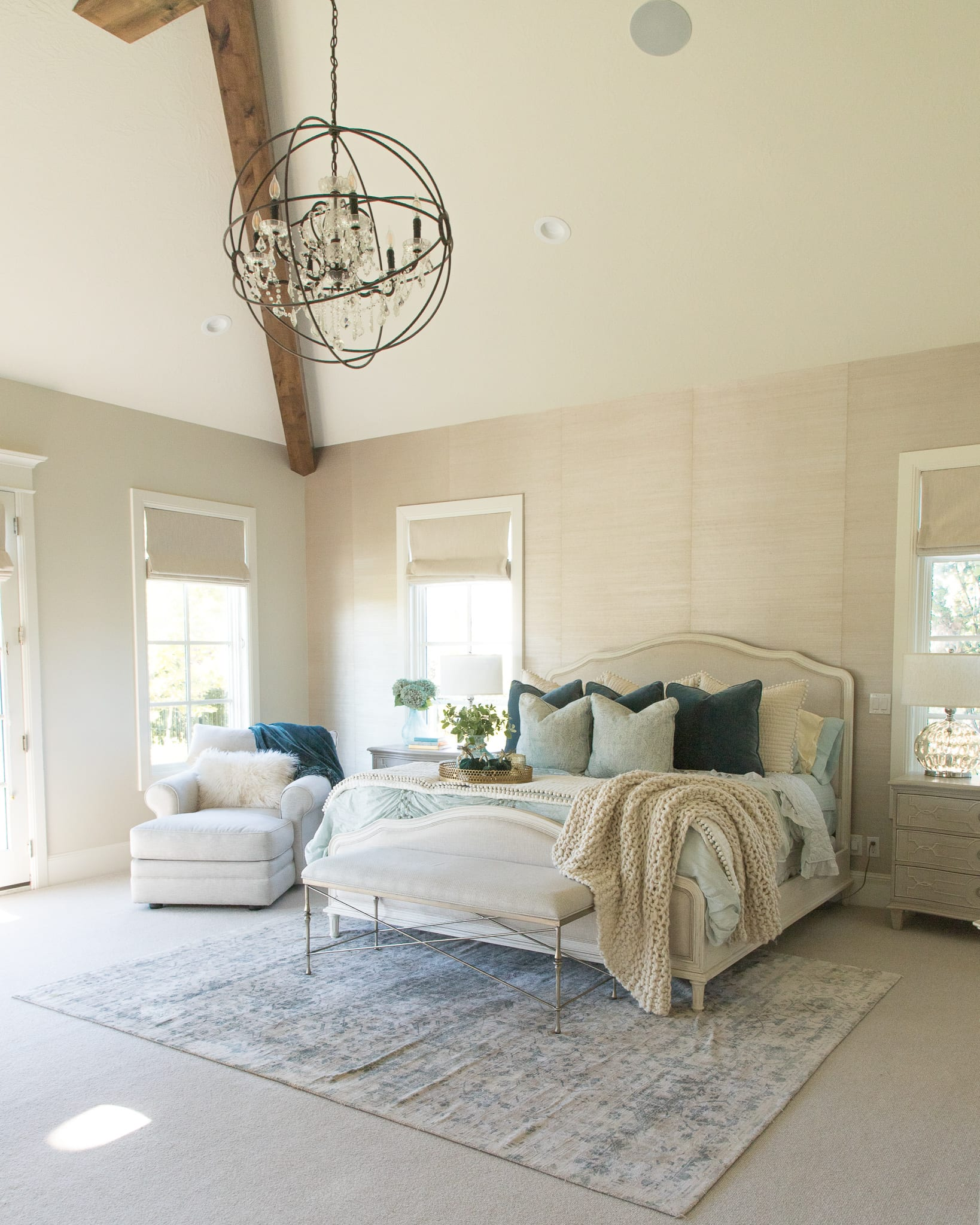 master bedroom styled for fall