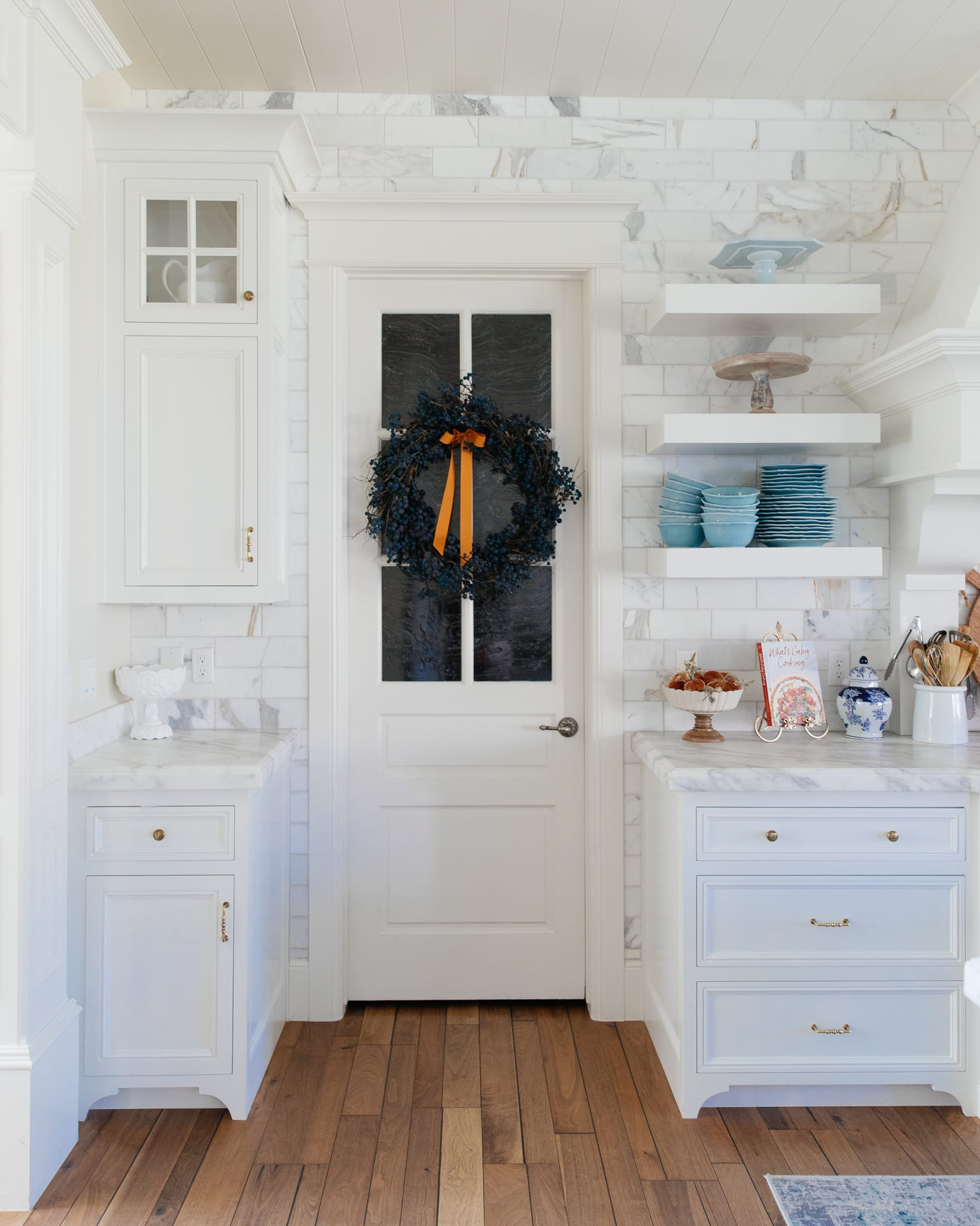 kitchen fall home tour blue and orange colors