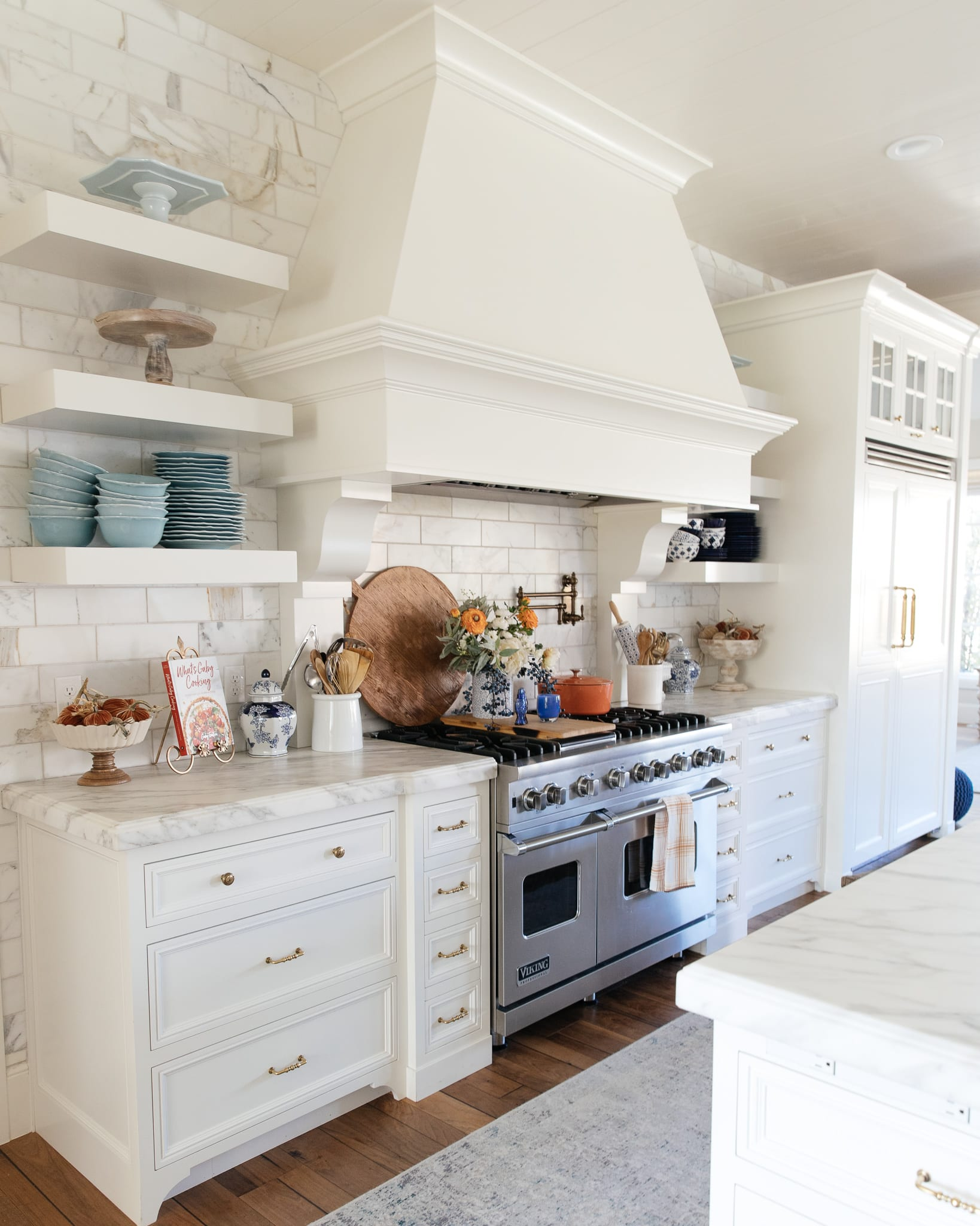 fall kitchen decor blue and orange