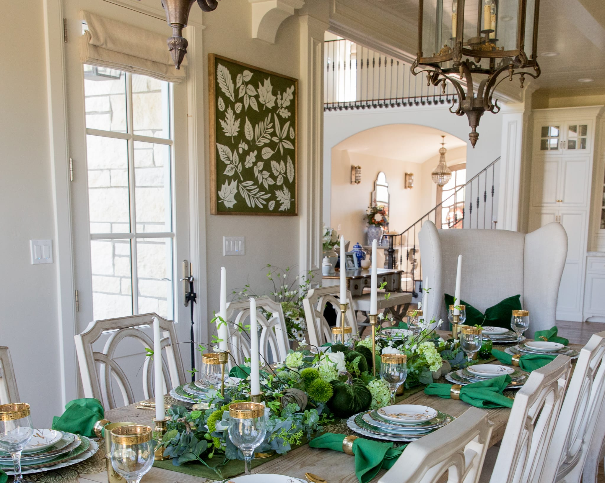 white gold green fall tablescape