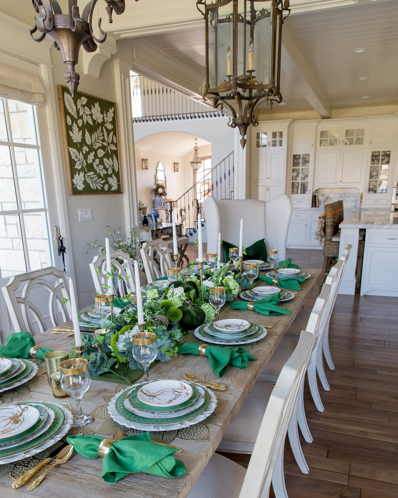 green gold white fall harvest table setting