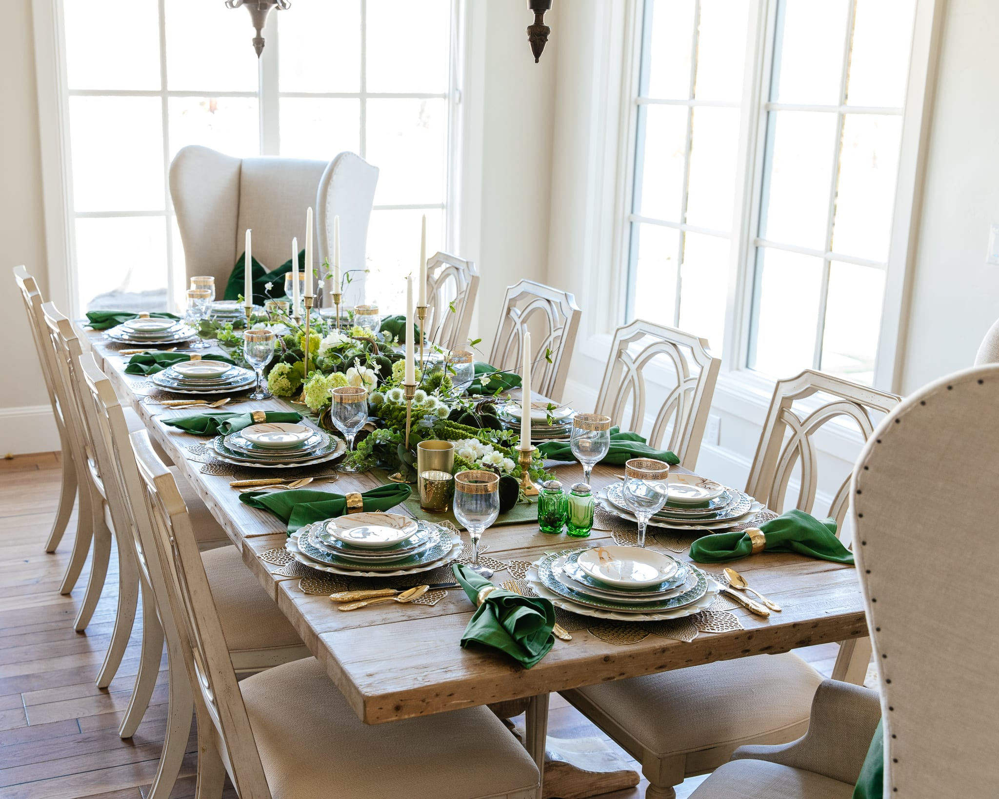green gold and white tablesetting for fall