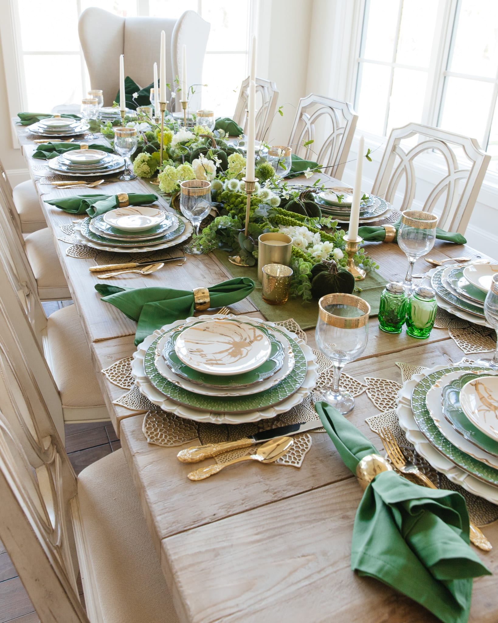 green gold white place-setting
