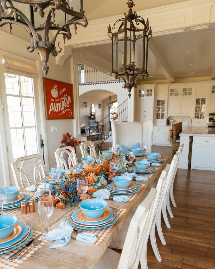 blue and orange pumpkin themed tablescape