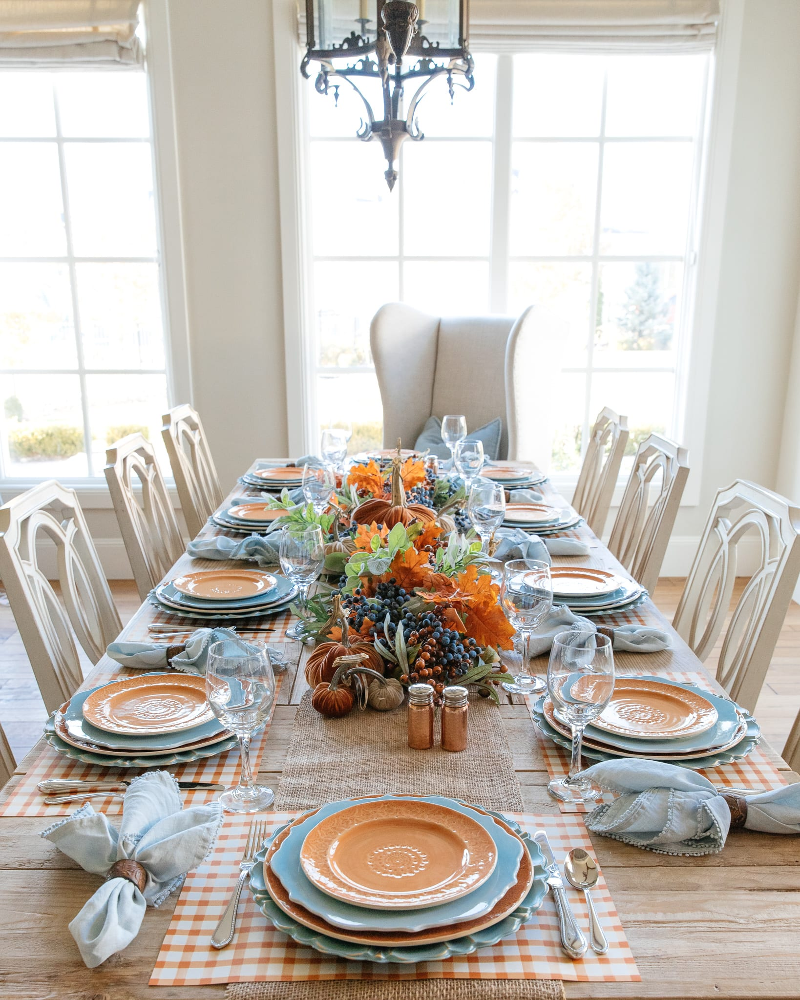 fall tablescape with orange and blue accents