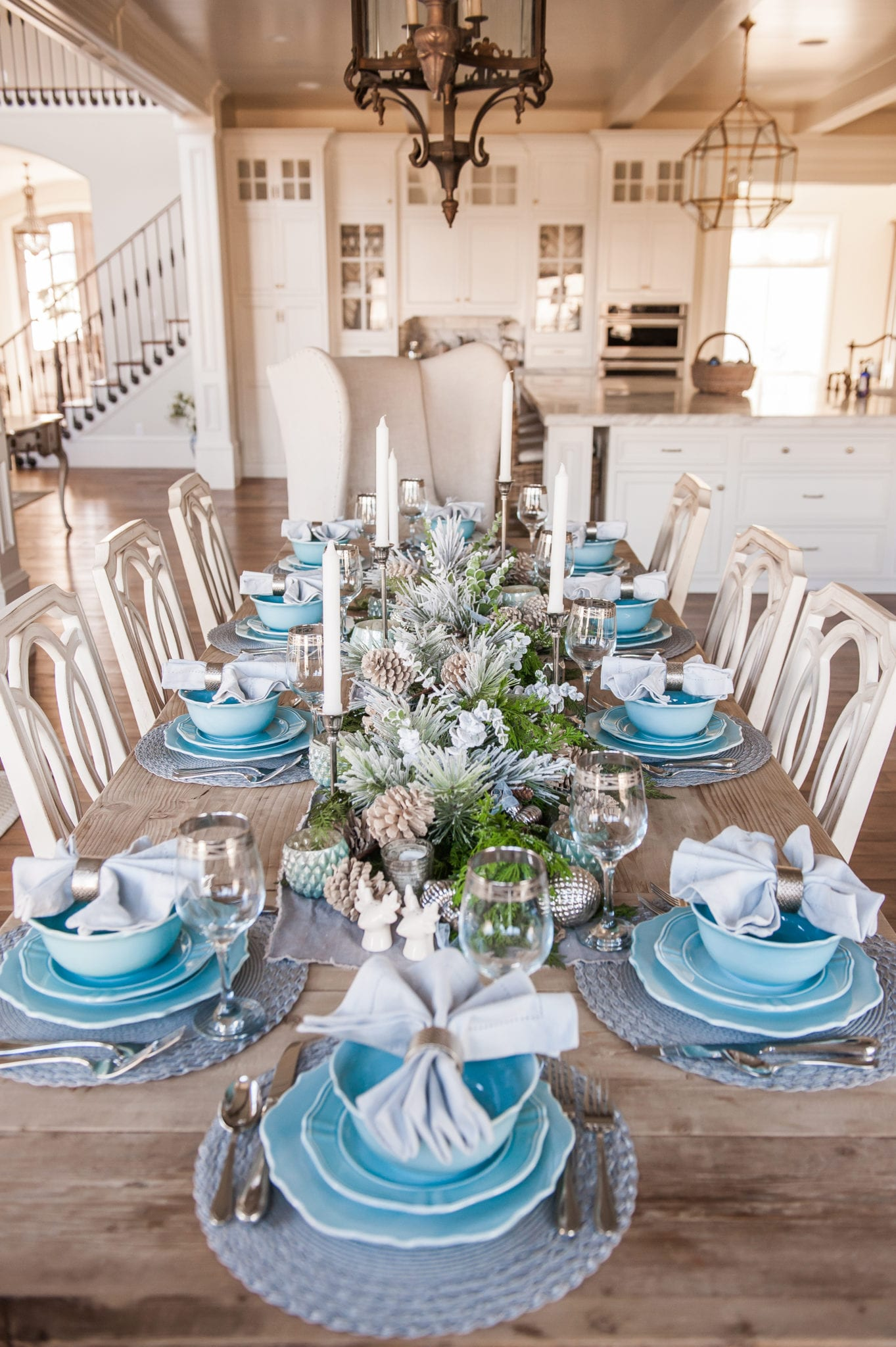 blue christmas tablescape table setting