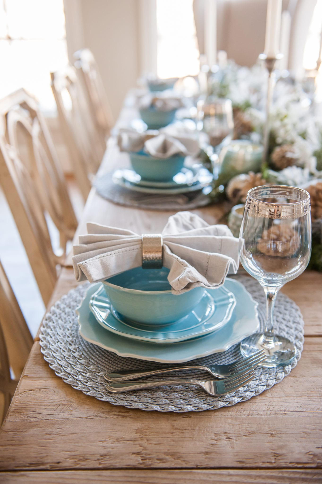 blue dinnerware for christmas