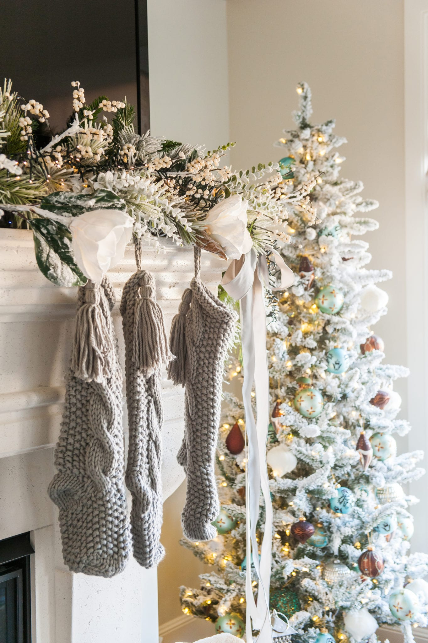 frosted garland mantle decor