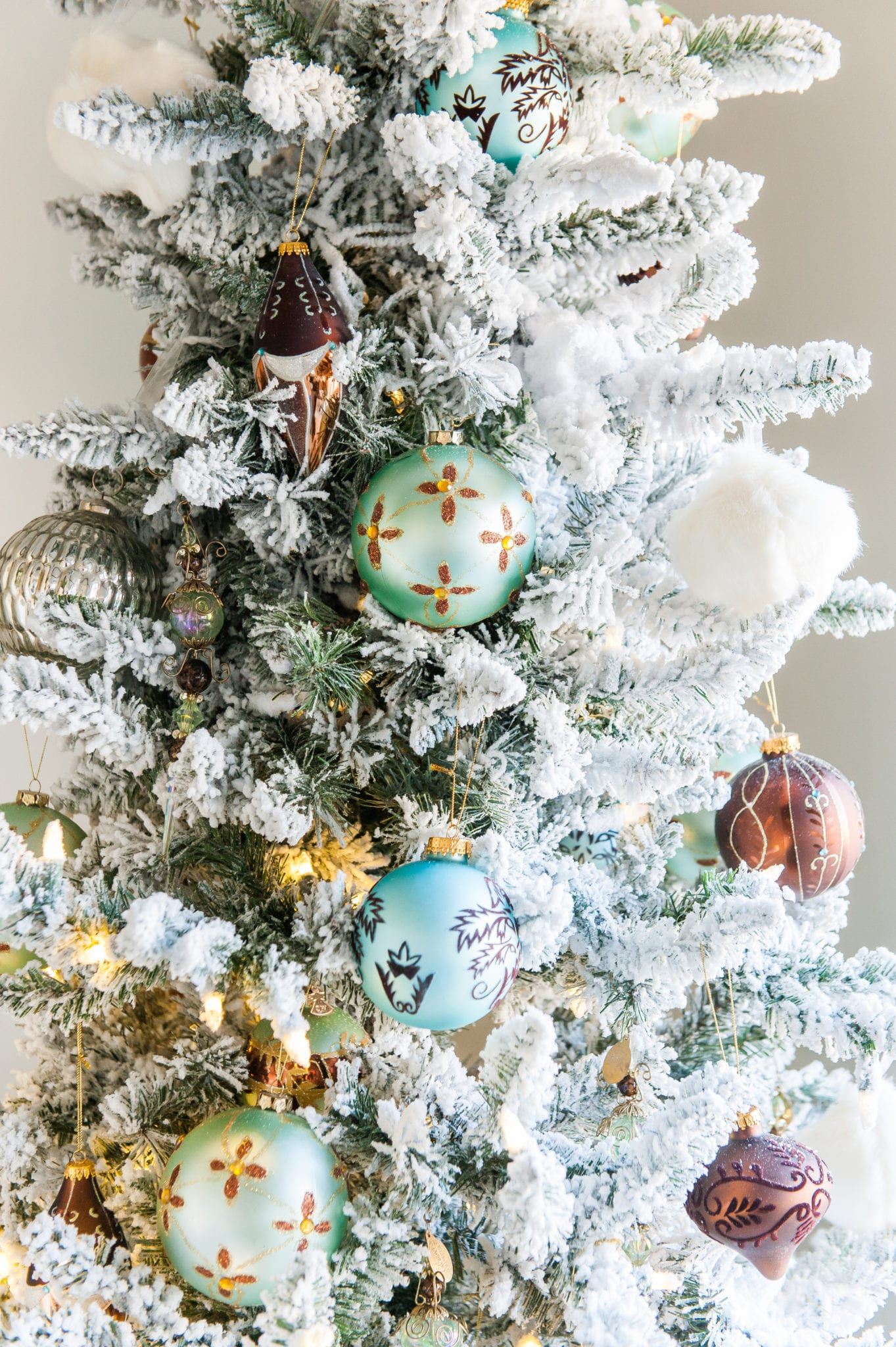 teal blue, brown and ivory christmas ornaments