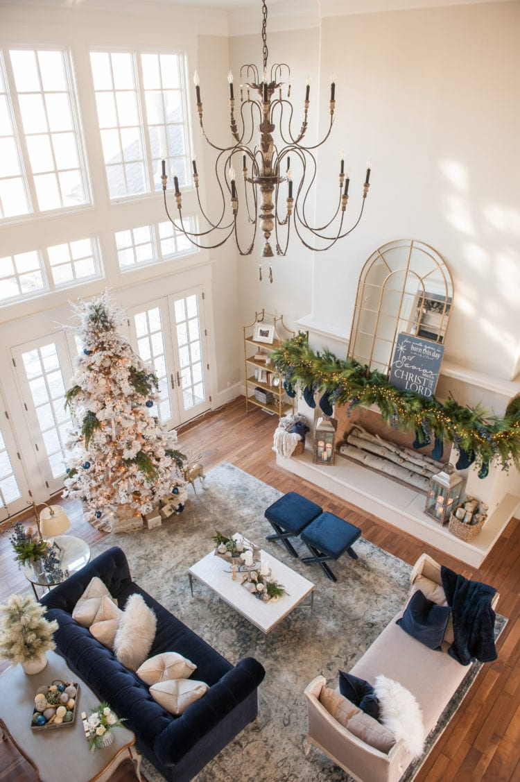 blue green and ivory christmas home tour