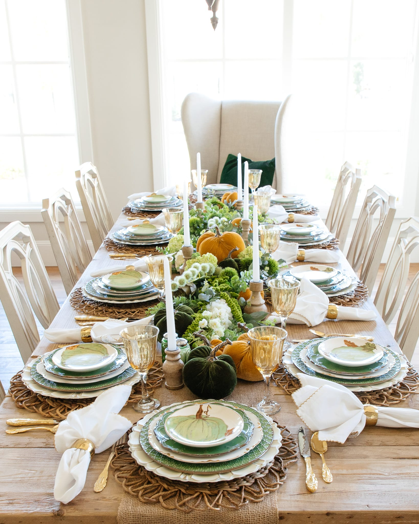 green gold and white thanksgiving tablescape