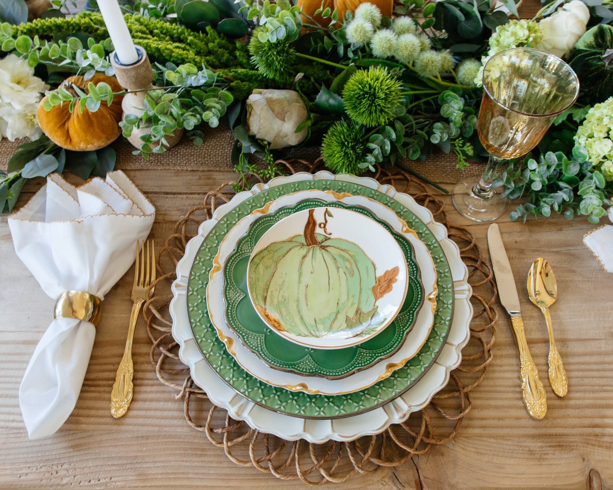 green pumpkin place-setting