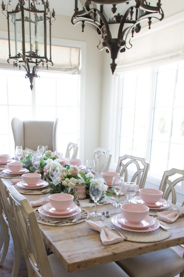 Pink and White Valentines Day Tablescape