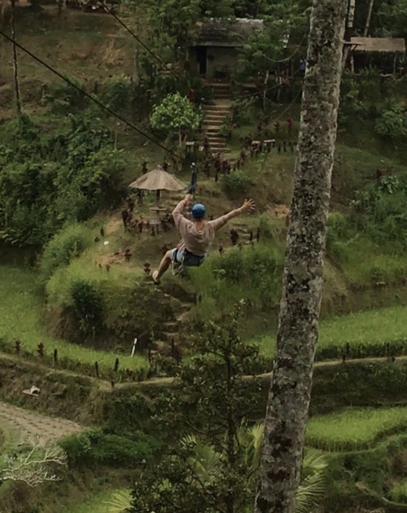 zip line Bali rice fields