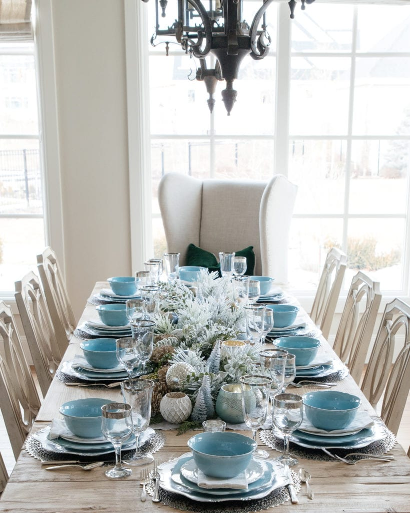 Blue white silver table