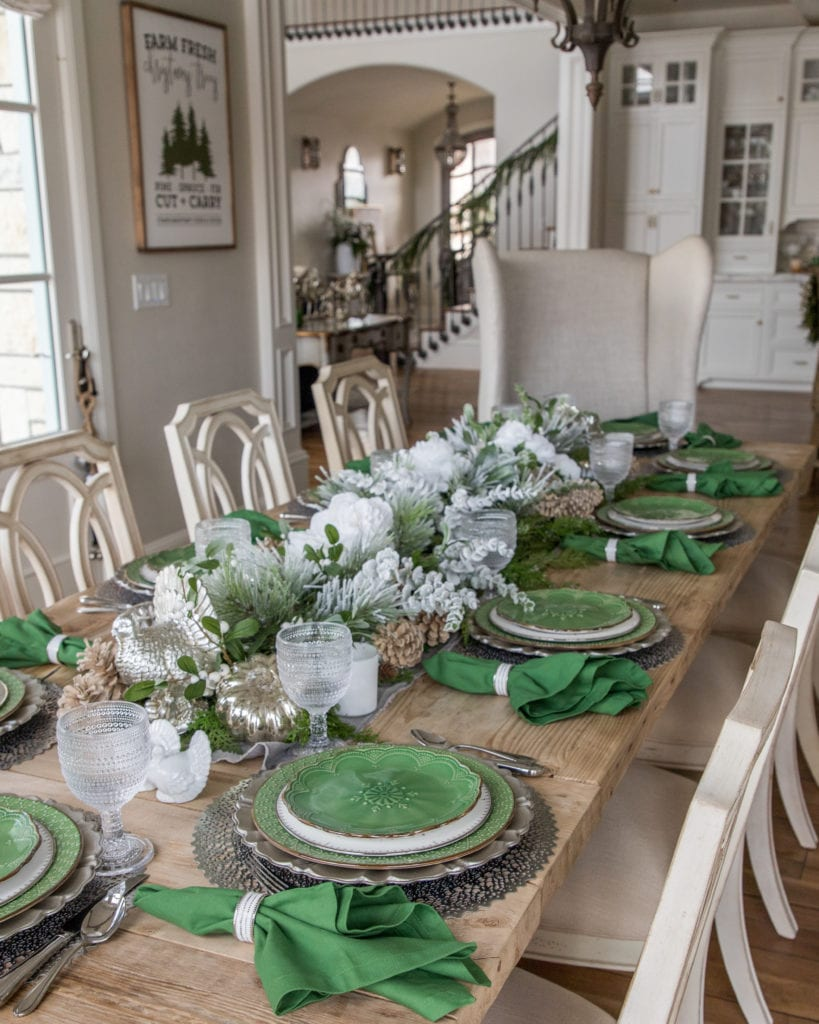 Thanksgiving Green white silver tablescape