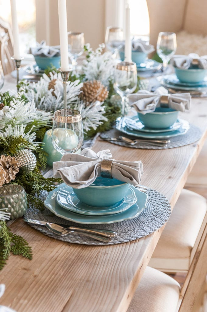Green Blue Silver Tablescape