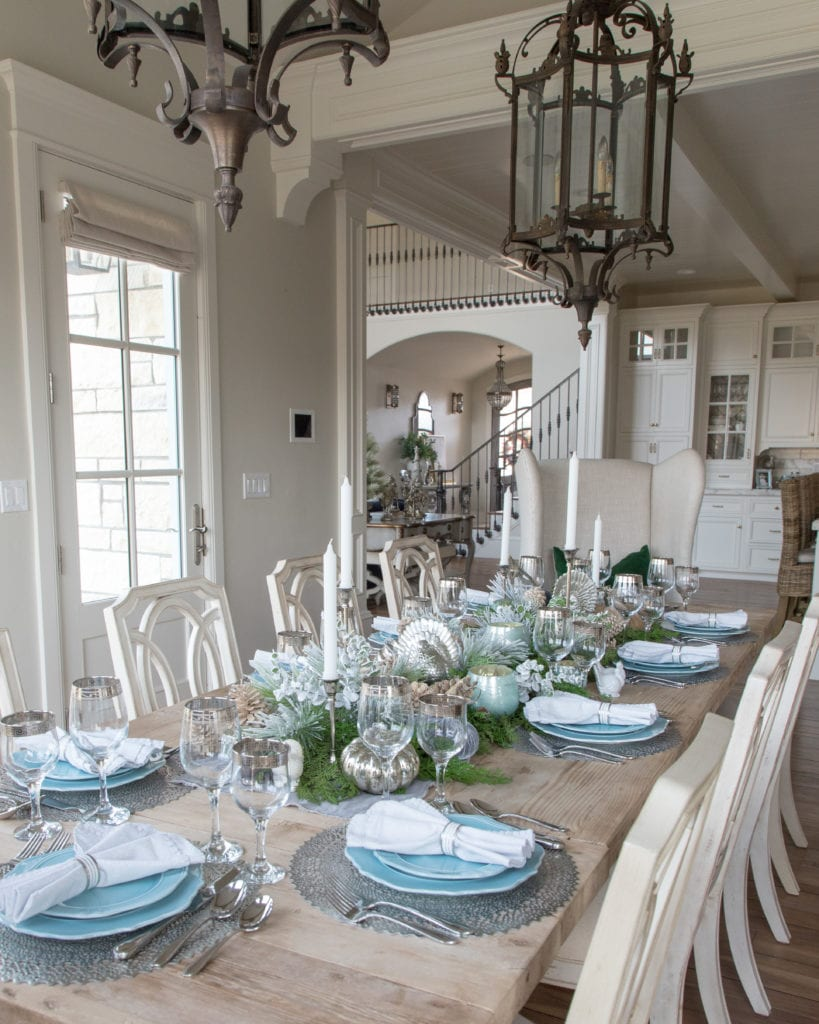 Blue Silver Green table setting