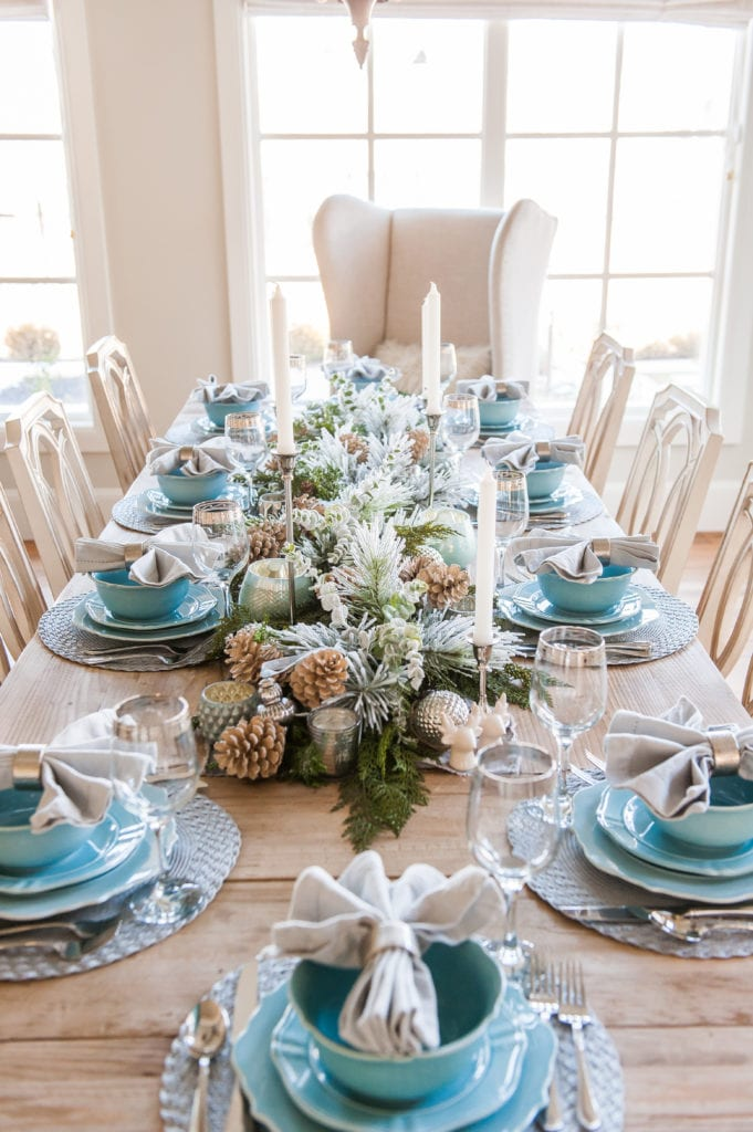 blue and silver winter tablescape