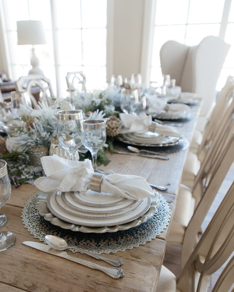 Winter silver and white tablescape