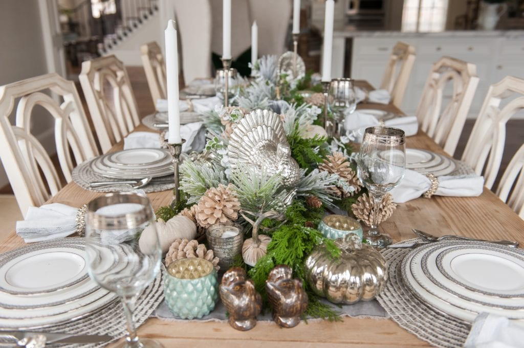 Thanksgiving White and Silver Tablescape