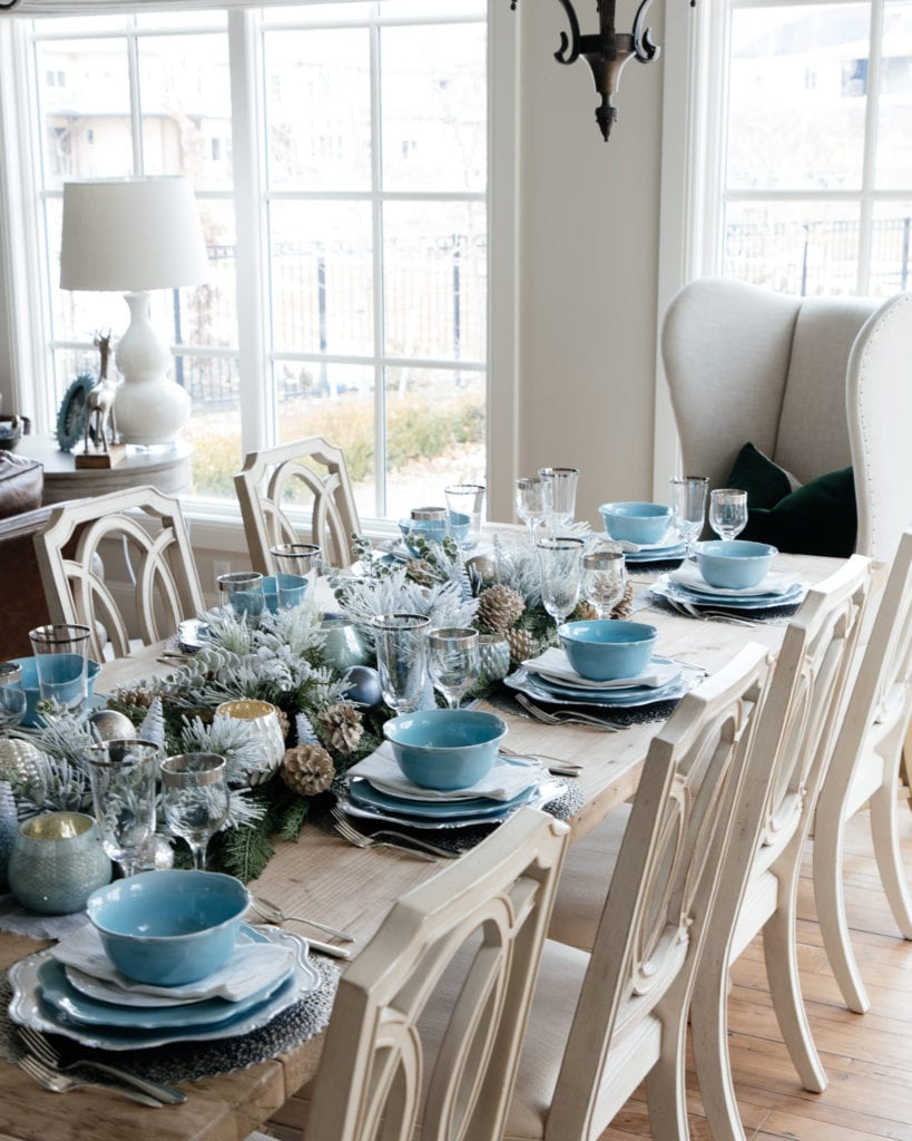 blue silver green Christmas table