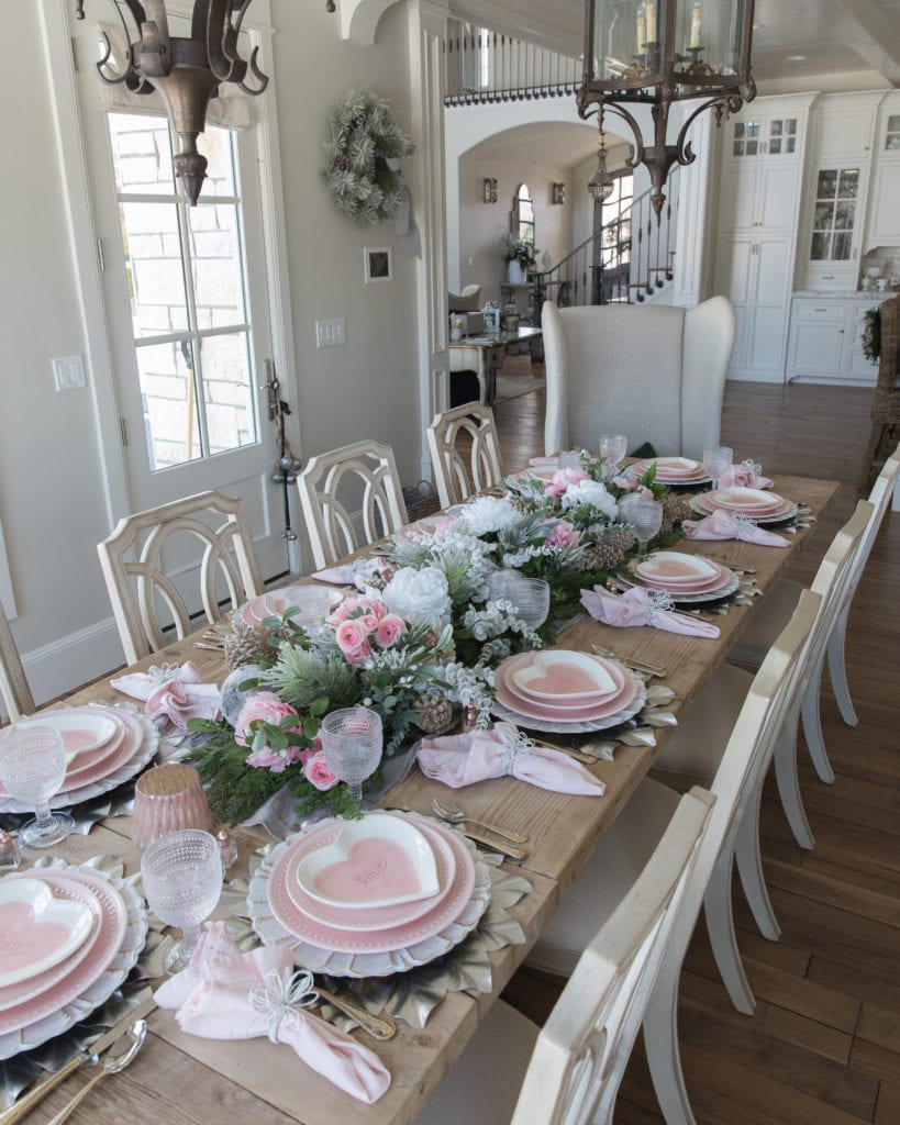 pink and white heart plates