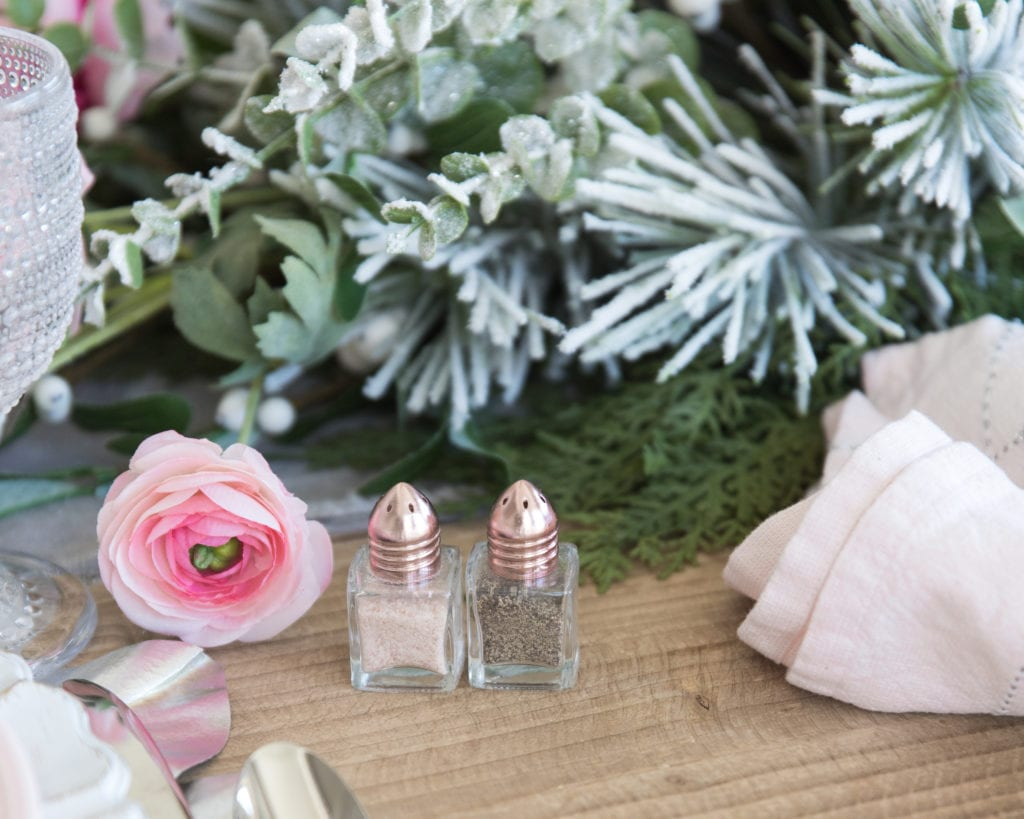 rose gold mini salt and pepper shakers
