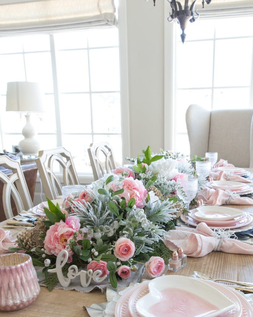 winter pink heart valentines day tablescape