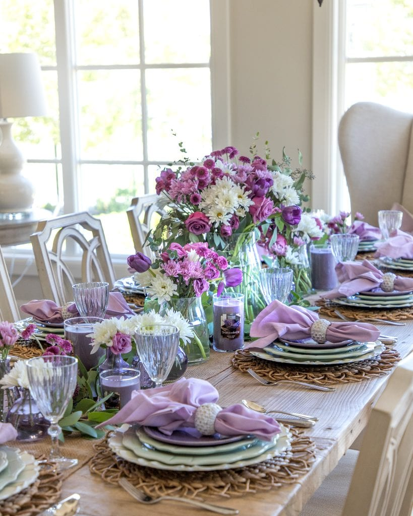 lavender mint green easter spring table decor