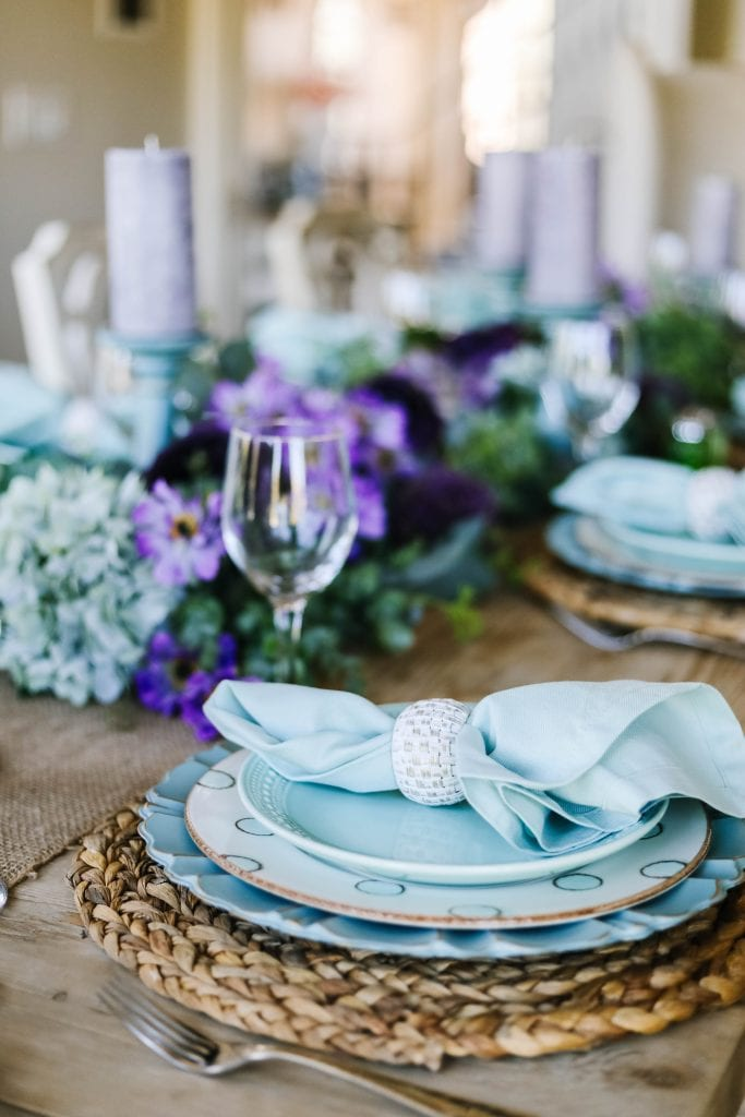 teal and lavender place-setting