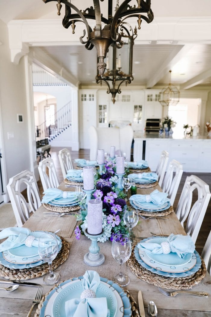 Lavender and Teal Spring Tablescape