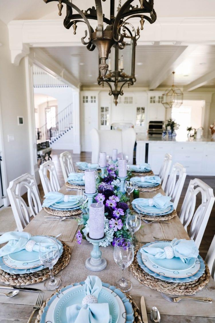 lavender teal spring tablescape