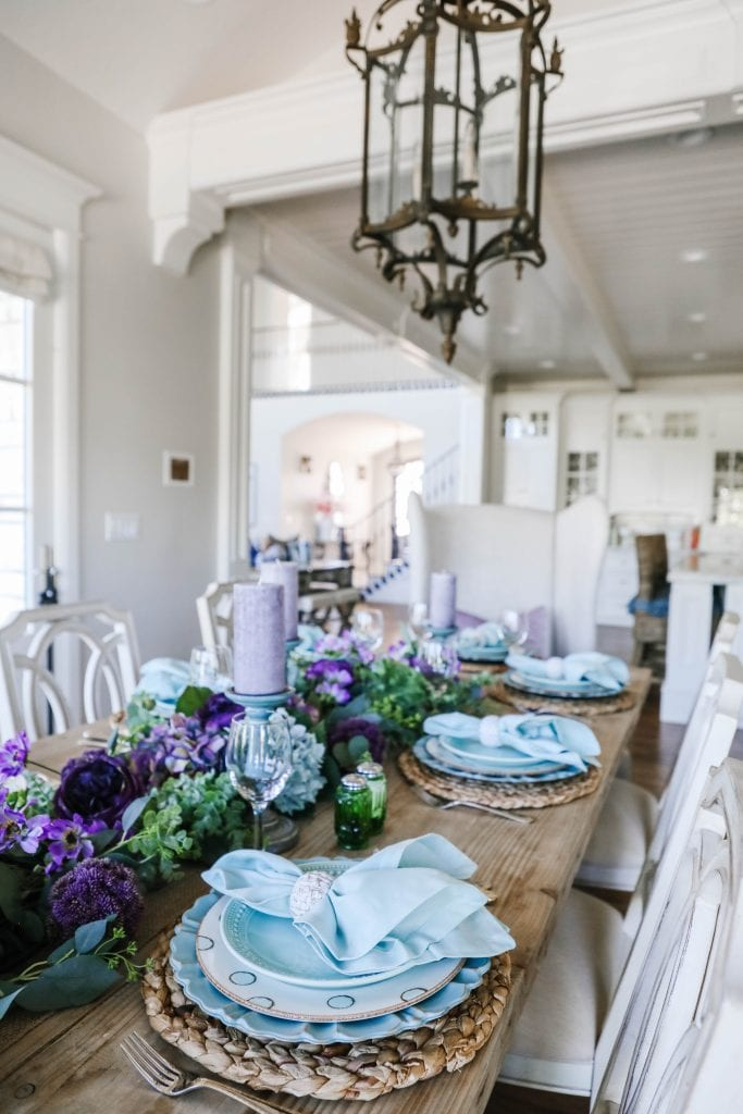 teal and lavender spring easter Tablescape