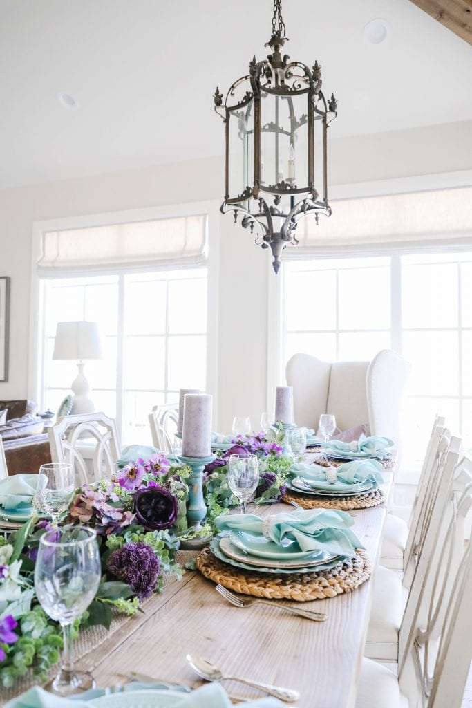 lavender and teal tablescape