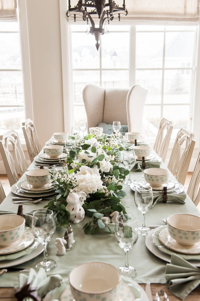 Easter Tablescape with Mint Green and White Colors