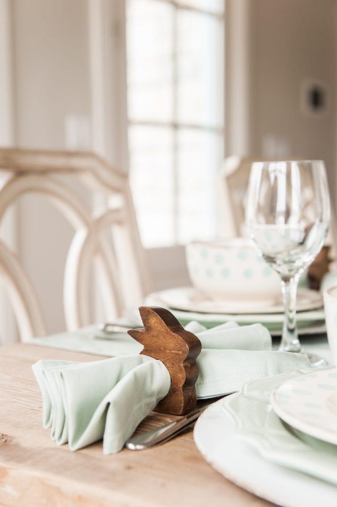 wooden bunny napkin ring
