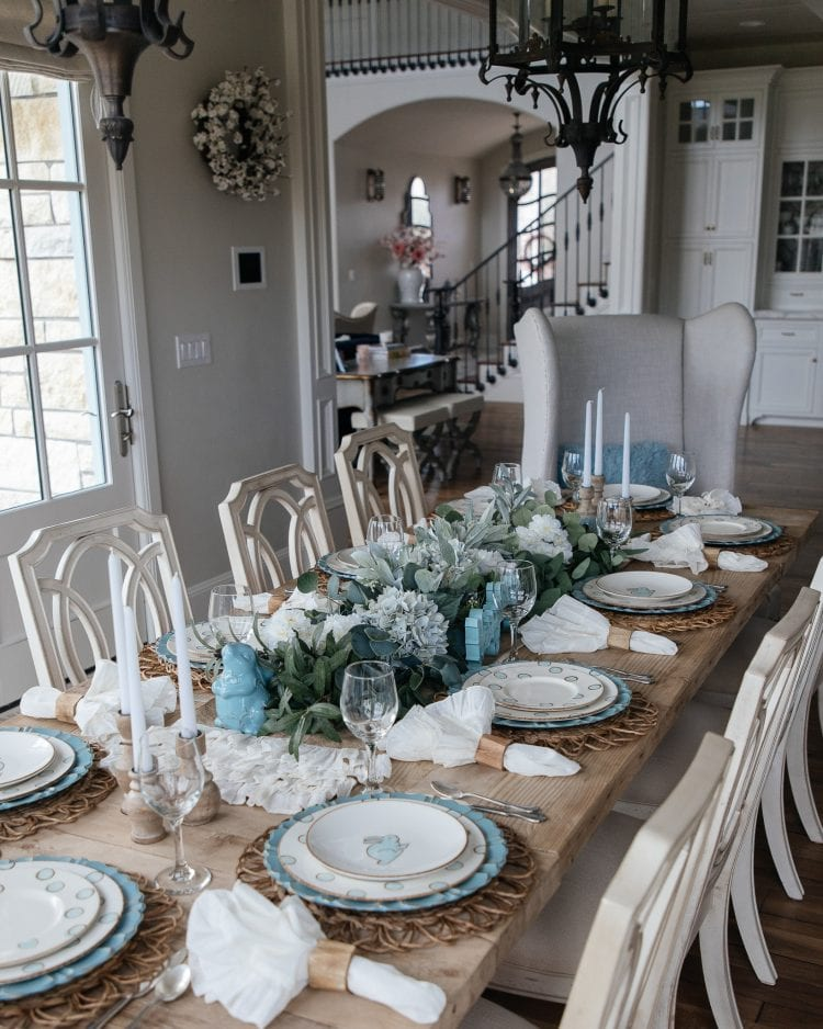 robins egg blue easter tablescape