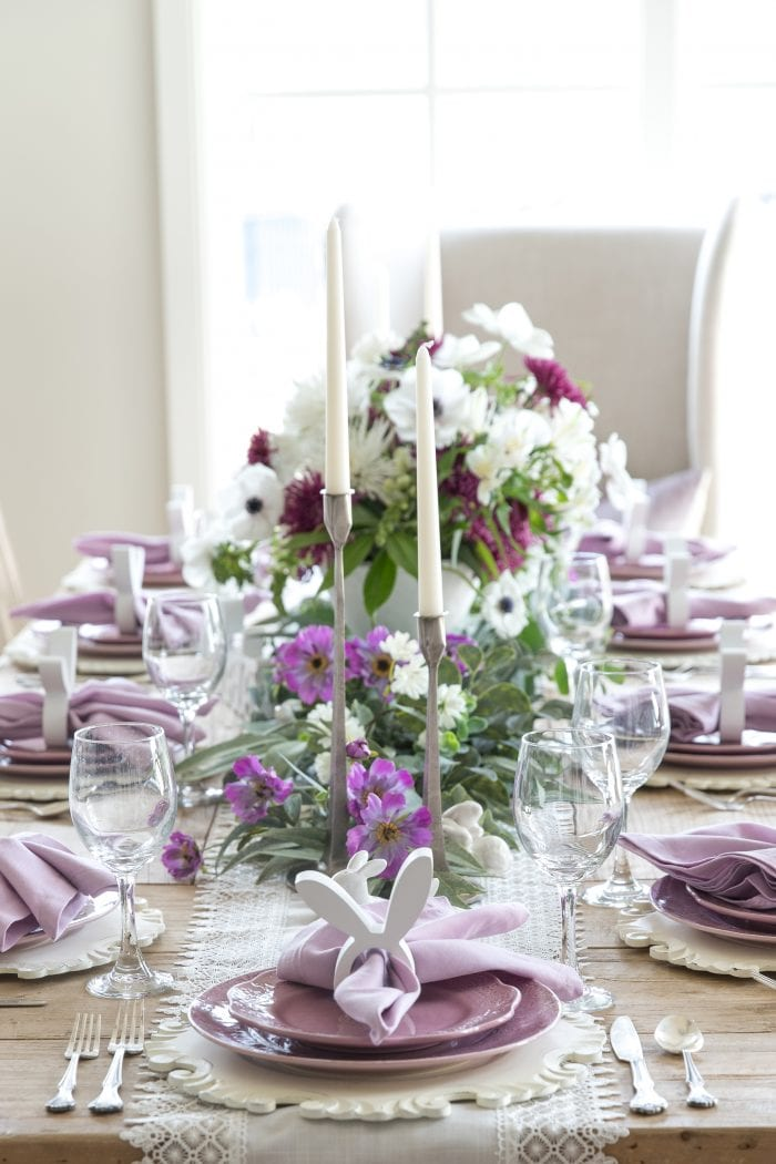Lavender and White Easter Tablescape