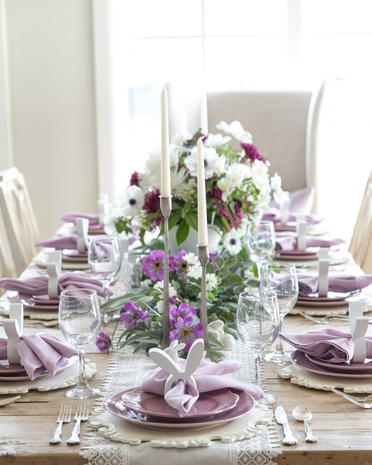 lavender and white easer tablescape