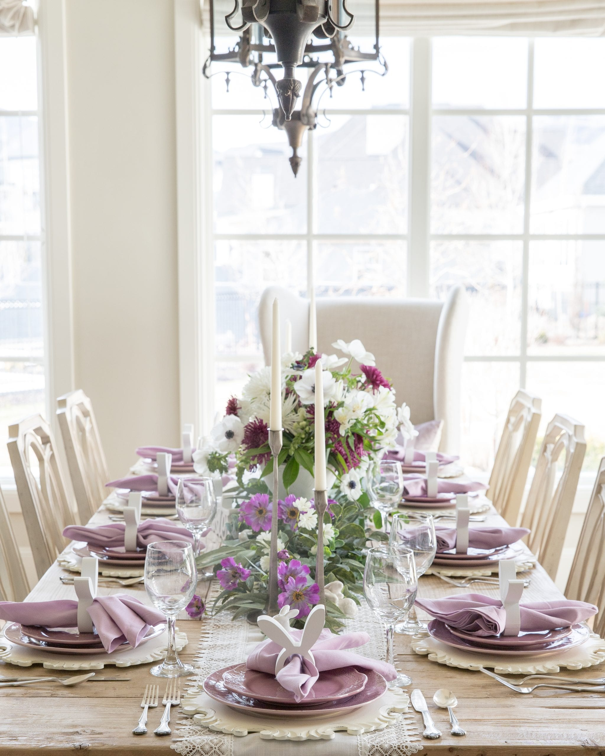 Lavender and White Easter and Spring Tablescape