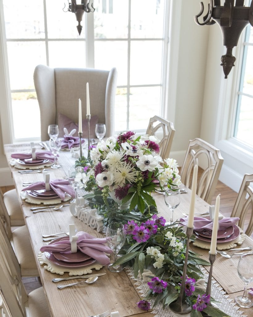 rustic candlesticks tablescape