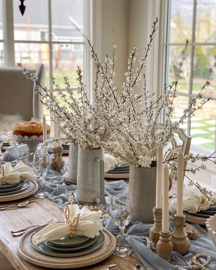 French blue tablescape spring decor centerpiece